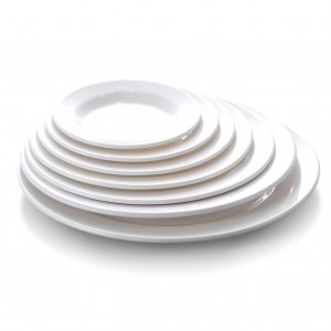 Melamine Round Plate Wide Rim White - 24.8 x 2cm