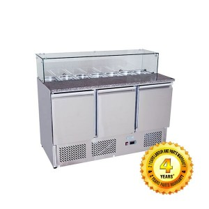 Snowman SS 3 Solid Doors Prep. Fridge / Glass Cover Salad Bar