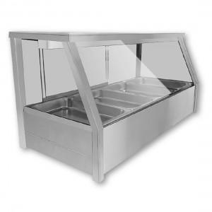BM11TD Heated Wet Six × ½ Pan Bain Marie Angled Countertop Display