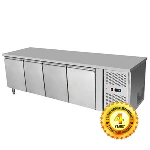 Stainless Steel 4 Solid Doors Undercounter Bench Freezer