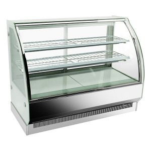 Curved glass hot food display, three display levels CSH-1200S2