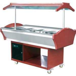 3 GN pan bain marie with real wood base and roof GN3W