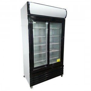 LG-1000BG Large Two Glass Door Colourbond Upright Drink Fridge - Black