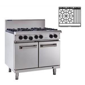 LUUS RS-4B3C – 900mm Professional Oven, 4 Burners & 300mm Char