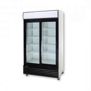 Large Black Sliding Two Glass Door Colourbond Upright Drink Fridge - LG-1000SDBG