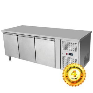 Snowman Stainless Steel 3 Solid Doors Undercounter Bench Freezer