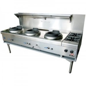 Goldstein CWA3B2 Air Cooled Gas Wok - Triple with Side Burners