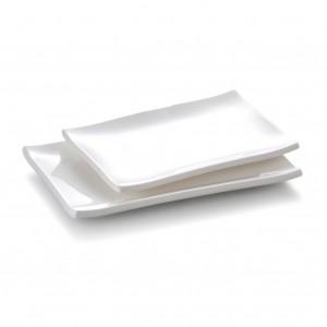 Melamine Rectangular Plate White - 25 x 16 x 2.4cm