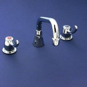 Yellow Tapware Deck Mount Faucet with 300mm Swing Spout and Four Arm Handles