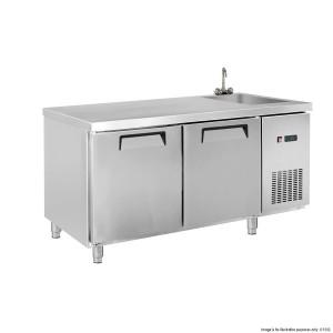 LDWB180CS Two Door Stainless Steel Workbench Fridge with Sink