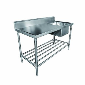 Mixrite SS1724L Sink Bench with Splashback 2400mm